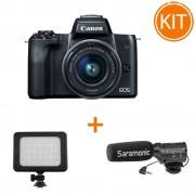Kit Canon EOS M50 cu Obiectiv 15-45mm IS STM + Microfon Saramonic SR-M3 + Lampa Kathay C18