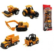 YIJIAOYUN Set of 5 Mini Construction Trucks, Excavator, Dump Truck, Bulldozer, Wheel Loader, Forklift- Vehicles Toy Pack