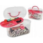 Set accesorii pentru cusut cu ace ata nasturi centimetru degetar foarfeca si cutie depozitare
