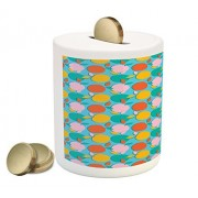 Colorful Coin Box Bank by Lunarable, Apples Pattern with Different Colors Fresh Summer Season Fruits and Foliage Leaves, Printed Ceramic Coin Bank Money Box for Cash Saving, Multicolor