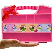 Durable Figures CASE Organizer Box| Fits up to 50 Mini Colleggtibles Eggs Toys Figurines, Miniature Characters Or Tiny Figure| Large Compartments| Carrying Case Bin with Handle by Ash Brand