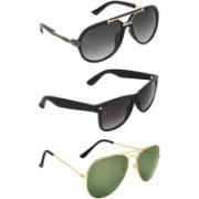 Zyaden Rectangular, Wayfarer, Aviator Sunglasses(Black, Green, Black)