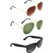 Zyaden Aviator, Aviator, Wayfarer Sunglasses(Brown, Green, Black)