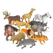 Forever Kidzz Animal Figure,6 Inch Jumbo Jungle Animal Toy Set, 6 Piece Plastic Animals Action Figure Toys Set, Forest Animals Toys Playset, Realistic Wild Animal, Toys for Kids Toddler