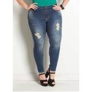 Calca Jeans Sawary Cigarrete Plus Size Azul