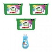 Set 3 cutii detergent rufe cu cate 15 capsule Ariel 3 in 1 PODS color +1 balsam rufe semana 250 ml