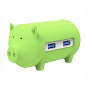 ORICO H4018-U3 Litte Pig HUB 3 Ports USB 3.0 HUB with TF + SD Card Reader(Green)