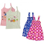 IndiWeaves Baby Girls Cotton Printed Frock and Printed Slips (Pack of 4)