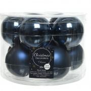 Decoris 10x Donkerblauwe glazen kerstballen 6 cm glans en mat