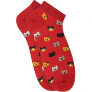 Soxytoes Purrfect Pair Red Cotton Ankle Length Pack of 1 Pair Animal Print Unisex Casual Socks (STS0142B)