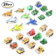 Toy Trucks,24 Pack Pull-Back Vehicles Set Assorted Mini Army Toy Tank,Panzer,Anti-Air Vehicle,Airplane and Construction Vehicles Pull Back and Go Car Toy Set for Kids by WEfun
