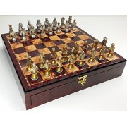 """Medieval Times Crusades Knight Chess Set Gold & Silver Busts W/ High Gloss Cherry & Burlwood Color Storage Board 17"""""""