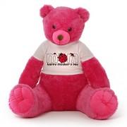 Dark Pink 5 Feet Teddy Bear wearing Ladybug Happy Mother's Day T-shirt