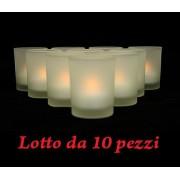 Mini luce Lumino a fiamma mobile BIANCA con bicchiere in vetro - 10 PEZZI