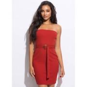 CheapChic Belted Beauty Rib Knit Tube Dress Brick