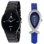 IIK Collction Black Men and Golry Fish Blue Women Watches Couple for Men and Women