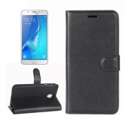 For Samsung Galaxy J7 (2017) / J7 Pro Litchi Texture Horizontal Flip Leather Case with Holder & Card Slots & Wallet (Black)