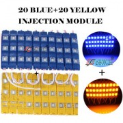 Eshopglee 3 LED DC 12V Waterproof Injection Led Modules Light 5630/5730 SMD - 20+20 Module (Blue+Yellow) + Free 12v Dc Adaptor