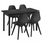 [en.casa]® Mesa de comedor de diseño elegante - 120cm x 60cm x 75cm - Con Set de 4 Sillas - 83cm x 54cm x 48cm - Con protección del suelo - Mesa Negra - Sillas Negras