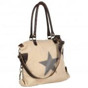vidaXL Shopper Bag Beige 41x63 cm Canvas and Real Leather