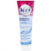 Veet Silk & Fresh crema depilatoare pentru picioare pentru piele sensibila Aloe Vera si Vitamina E 100 ml