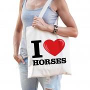 Bellatio Decorations Katoenen tasje I love horses/ paarden
