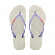 Havaianas Slim Logo Pop Up Flip Flops White Purple Size 3-4