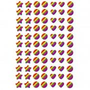 Geen 231x Regenboog figuren stickers met 3D effect met zacht kunstst