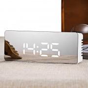 Ceas dreptunghiular TS-S69 cu LED, Alarma, Setare luminozitate, Design Oglinda, Alb
