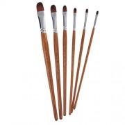 ELECTROPRIME 6pcs Watercolour Acrylic Oil Painting Art Artist Paint Brushes Set Brown