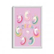 Roze unicorn poster voor een meisjeskamer