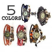 Round Dial Multicolor Leather Strap Womens Set Of 2 Watches