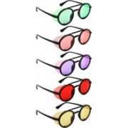 NuVew Round, Shield Sunglasses(Green, Orange, Violet, Red, Yellow)