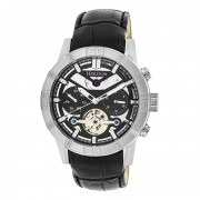 Heritor Automatic Hamilton Semi-Skeleton Leather-Band Watch - Silver/Black HERHR4102