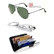 Ediotics Attitude Green Aviator Sunglasses & Jaguar Silver Chrome Plated Keychain & Alumi Wallet Combo