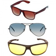 Magjons Brown Wayfarer Aviator Sunglasses Combo Yellow Driving Goggale Set of 3 With box MJK021