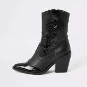 river island Womens Black leather cutout cowboy ankle boots (7)
