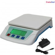 CrackaDeal New TS 200V Digital 5Kg With Adapter Electronic Weighing Scale(White, Blue)