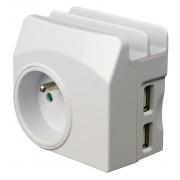 HBF rozdvojka/nabíječka, zásuvka + 2x USB + micro USB 211026