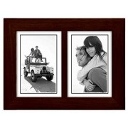 Malden International Designs Linear Espresso Walnut Split Double Wooden Picture Frame, 3 by 5-Inch