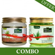 Indus Valley Bio Organic Extra Virgin Coconut Oil With Pure Aloe Vera Gel For Hair And Skin Care Combo Pack