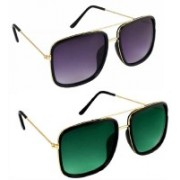 Flynn Retro Square Sunglasses(Black, Green)