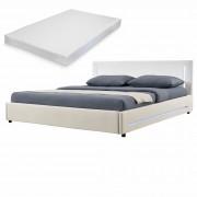 [my.bed] Elegantná manželská posteľ s LED osvetlením - matrac zo studenej HR peny - 180x200cm (Záhlavie: koženka biela / Rám: textil krémová) - s roštom