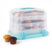Blauwkapje XL Gebaksbox Cupcake-Carrier 36 Stk 34,5 x 25 x 25 cm blauw