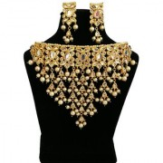 Finekraft Dazzling Meena Kundan Gold Plated Bridal Wedding Designer Necklace With Beautiful Earrings Set