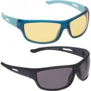Vast Wrap-around Sunglasses(Yellow, Grey)