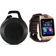 Zemini DZ09 Smart Watch and Clip Plus Bluetooth Speaker for LG OPTIMUS L5 II DUAL(DZ09 Smart Watch With 4G Sim Card Memory Card| Clip Plus Bluetooth Speaker)