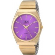 TKO Purple 14298 TKO Gold Stainless Steel Expansion Bracelet Stretch Thin Case Purple Face Flex Teen Girls Watch TK649PR Watch - For Women