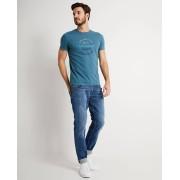JBC Petroblauwe T-shirt met opschrift slim fit