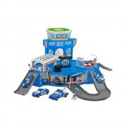 Set de joaca pentru copii, parcare cu masini de politie, masinute incluse, rampa de coborare, Heliport